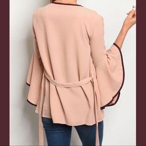 Boutique Sweaters - Blush & Wine Kimono Cardigan